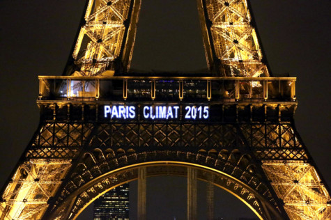 The climate conference was displayed on the Eiffel Tower.
