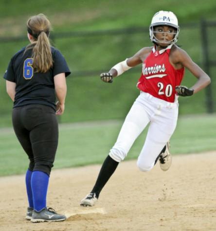 Mallory Lebo takes a base. Photo By; GameTimePa