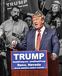 Donald Trump the front runner for the republicansBy Darron Birgenheier from Reno, NV, USA (Donald Trump in Reno, Nevada) [CC BY-SA 2.0 (http://creativecommons.org/licenses/by-sa/2.0)], via Wikimedia Commons.