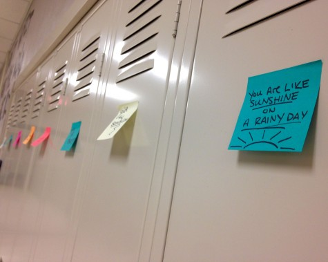Students came into school with compliments posted on their lockers. Photo By Grace Burns