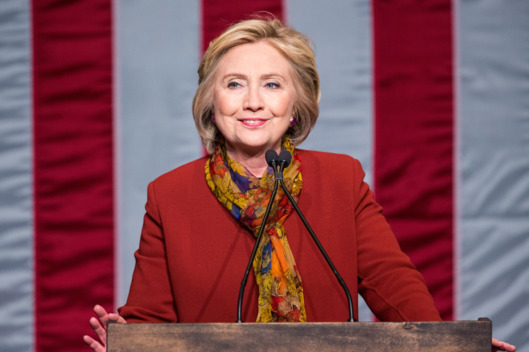 Hillary Clinton gives a speech at the Schomburg Center. Photo: Andrew Burton/Getty Images.