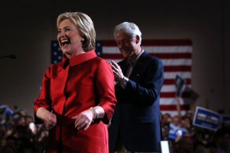 Clinton celebrates her win in Nevada. Photo by Justin Sullivan/Getty Images.
