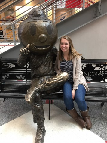 Franz smiles with the Buckeye while on a visit to her future school. Photo Courtesy of Kelly Franz