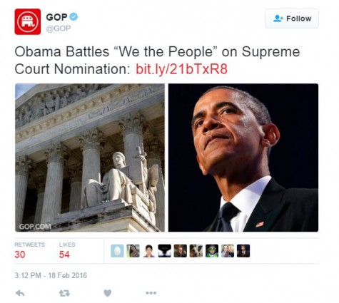 Almost immediately after Justice Scalia's death, many member of the Republican Party vocalized their opinions. Photo courtesy of @GOP on Twitter.