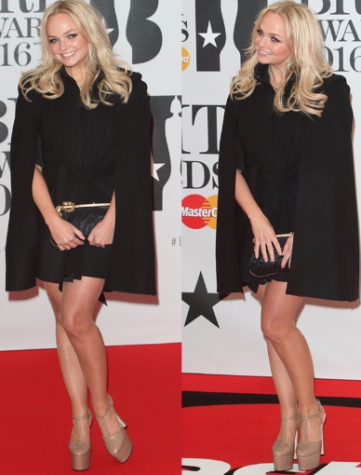 Emma Bunton went for a polished look in a cape black ensemble that she paired with nude platform shoes. Photo By: Courtesy of the Brit Awards O2 Arena in London