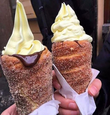 These donut cones can be served with ice cream or even savory options. Photo courtesy of Good Eating Bakery.