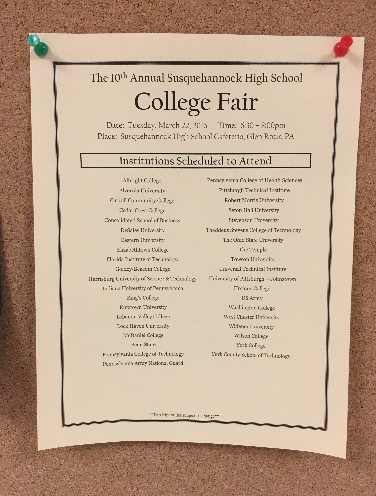 The 10th Annual College Fair at Susquehannock High School was held on Tuesday, March 22, 2016. Photo by Ally Kerr.