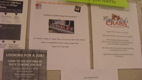 Advertisements for job openings can be found outside of the guidance office or outside of room 203. Photo by; Ariel Barbera