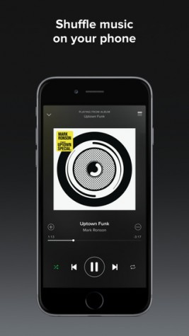Shuffling through the playlist is always a fun way to listen to music on the go. Photo courtesy: iTunes