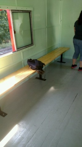 These are the benches that D'Amore installed in the caboose.