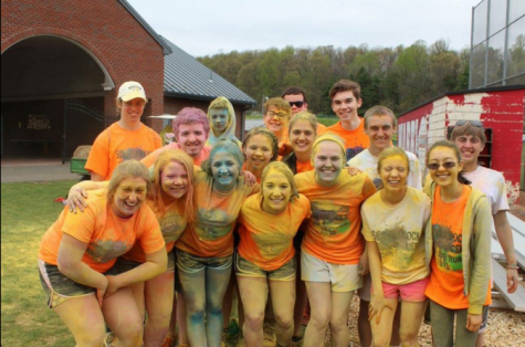 Members of student council get together after they get splattered with paint. Photo courtesy from Emily Landis.