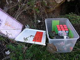 Here is what you would typically find once you found your location while geocaching.