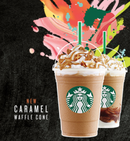 The Waffle Cone Frap is here. Screenshot from Starbuck's homepage.