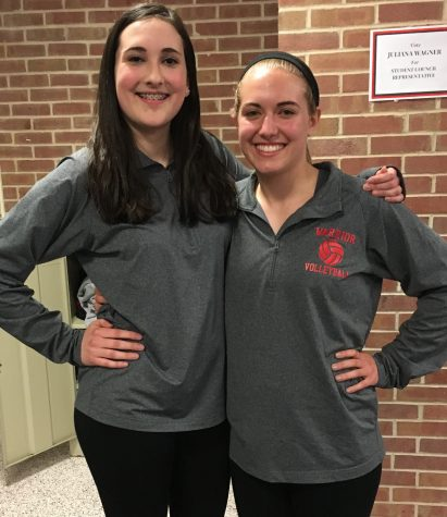 Photo By: Abby Deter Senior manager Kelly Franz poses with Freshman manager Ally Grothey.