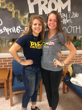 Senior Maddie McGowan and Emily Houska participated in Decision Day.