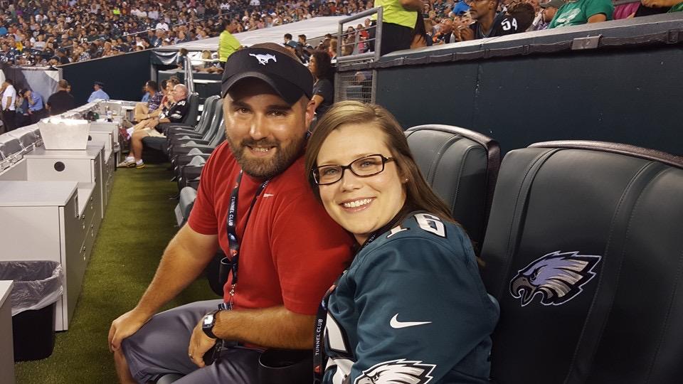 Krotzer and her husband enjoy an Eagles game.