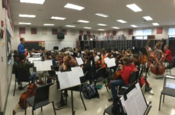 Orchestra students prepare for the October concert