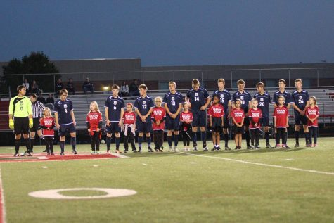 Mason Dixon players join West York's starting lineup. Photo by Laurie Kettinger.