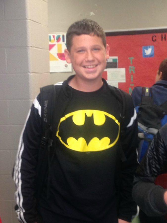 Freshman+Nicholas+Koval+showed+his+school+spirit+by+sporting+a+batman+shirt.
