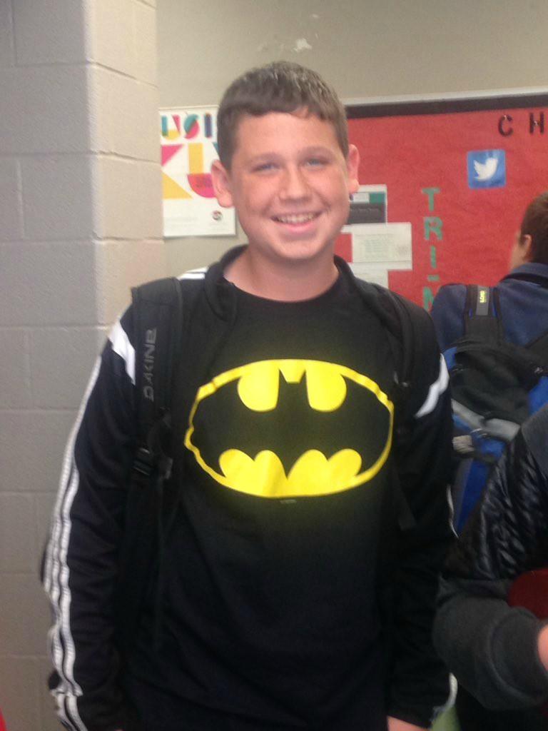 Freshman Nicholas Koval showed his school spirit by sporting a batman shirt.