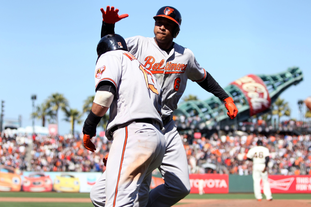 Manny Machado and Johnathan Schoop celebrate go-ahead home run. Photo from USA Today