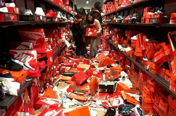 A Nike store's displays and shelves are destroyed during the Black Friday craze.