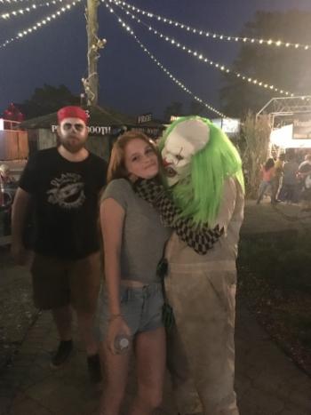 BonJo the Clown with Jayde Jackson at Field of Screams.