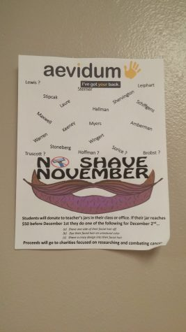 Members of Aevidum advertised No Shave November hanging posters on the wall. Photo by: Ariel Barbera
