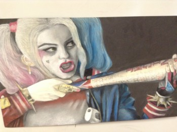 Junior Stevie King draws Harley Quinn from the hit movie Suicide Squad.