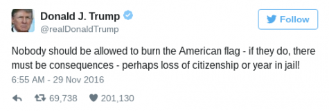 Donald Trump's tweet on his opinion of making it illegal to burn the American flag. Photo courtesy of @realDonaldTrump