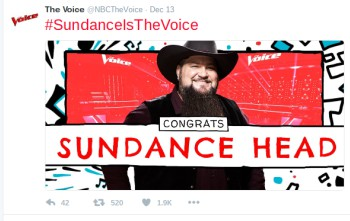 The Voice announces that the winner is Sundance Head. Photo courtesy of The Voice on Twitter.