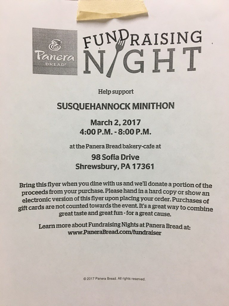 Come out and support Mini-THON by going to Panera on March 2.