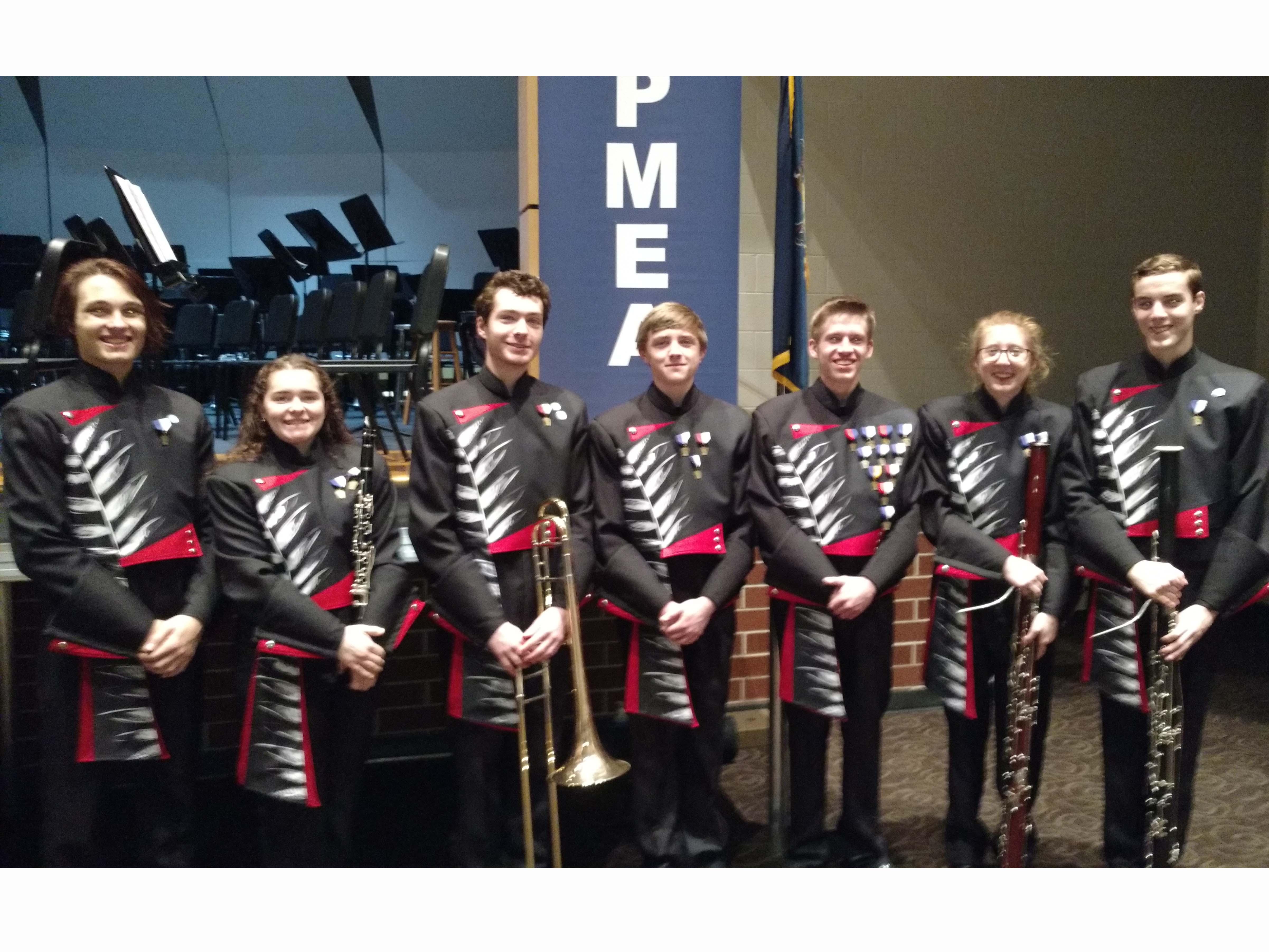 Susquehannock district band members from left:  Joe Fair, Ann Marie Falzone, Connor Skevington, Hayden McGarvey, Julien Sherman, Emma Steinauer, and Lucas Schwanke.
