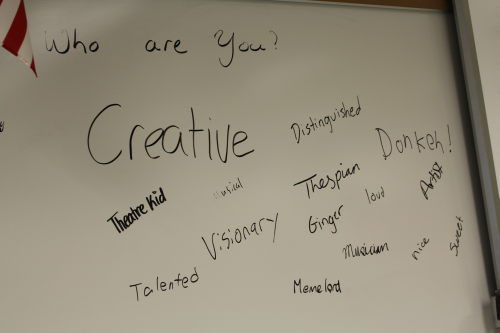 In the Creator Theater, students were asked to describe who they are using one word. This was a part of a social experiment that conveyed to students how it's natural to have judgments, but what is important is getting past the negative judgments that are first reactions in people's minds.