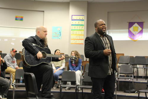 After having a discussion about what they wrote on their flashcards, the mentors put together a rock song about their issues that were discussed.