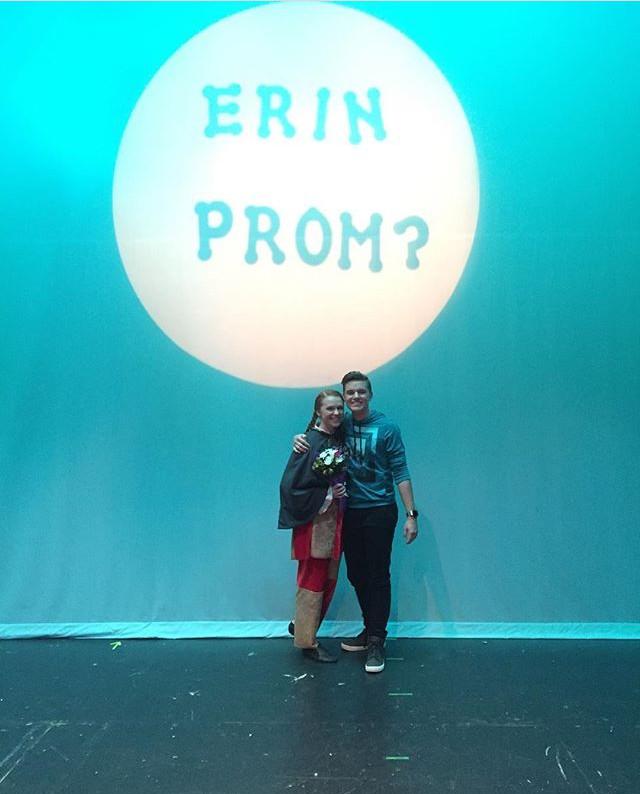 Junior Brendan Paules asked his girlfriend, junior Erin Kaliszak, to prom during a rehearsal for Shrek: The Musical.