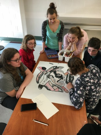 At one of the meetings, students colored a photo of the school mascot. Photo courtesy of Christine Bosley.
