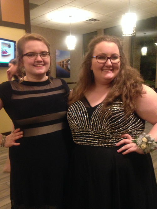 (From the left): Seniors Lina Waterstradt and Rachel Sergent are all smiles in black.