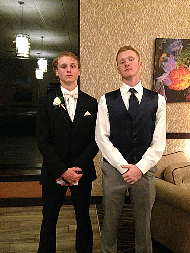 (From the left): Junior Ben Trego and senior Peyton Reider model their prom wear. Photo by the author.