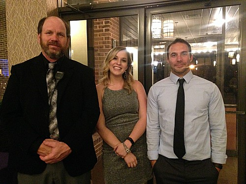 Chaperones for the prom included technology education teacher Jack Stoneberg and math teacher Elizabeth Surguy, along with another chaperone . Photo by the author.