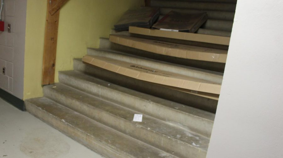 The stairs used to go to the Administration building.
