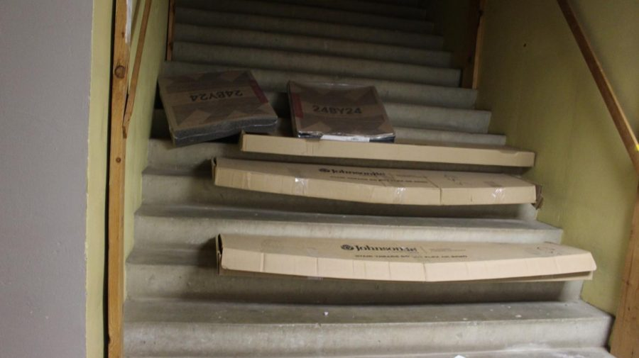 The stairs are very beaten up.
