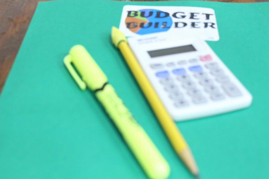 """Budget Builder activity folder. Senior Holly Bull gave her thoughts about the day. """"The second half of the day with the budget was very helpful,"""" said Bull."""