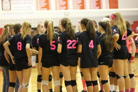Susquehannock Girls Volleyball team in a huddle discussing Dig Pink game on Tues. October  10 2017 Photo by: Antonia Johnson
