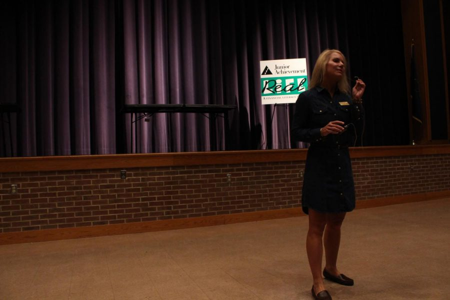A Junior Achievement representative gives the opening ceremony.