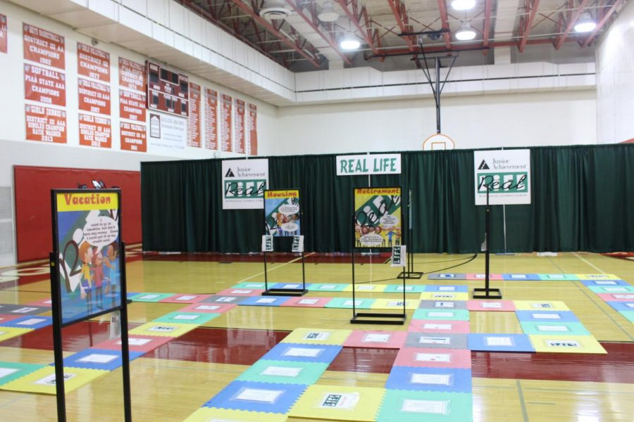 The life sized game board at Real Life was set up in the main gym.