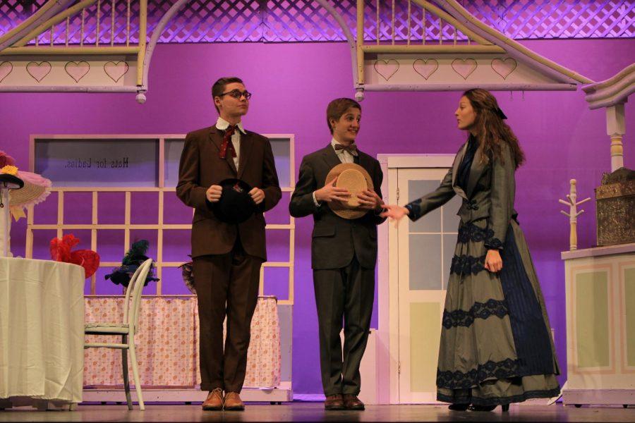 Junior Cora Dunaja (Irene Molloy) talks to junior Shane Watson (Barnaby Tucker) and senior Kaleb Fair (Cornelius Hackl)