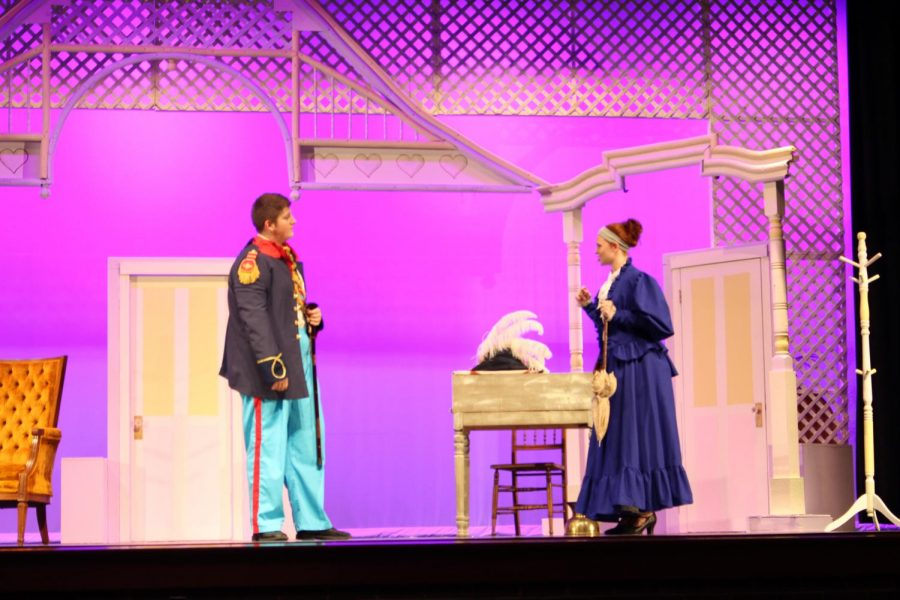From left to right: Junior Daniel Poole and Senior Erin Kaliszak rehearse.