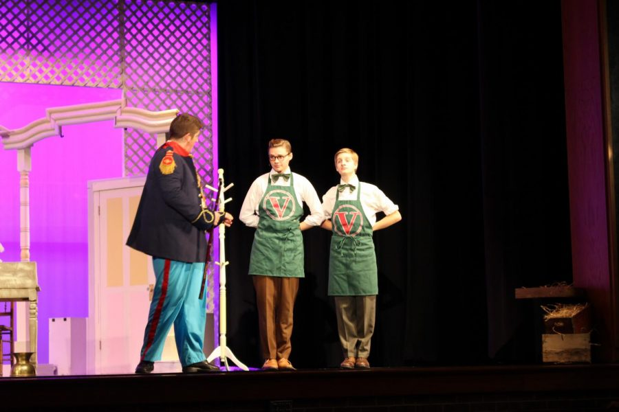 From left to right: Junior Daniel Poole, Senior Kaleb Fair and Junior Shane Watson prepare one of their scenes.