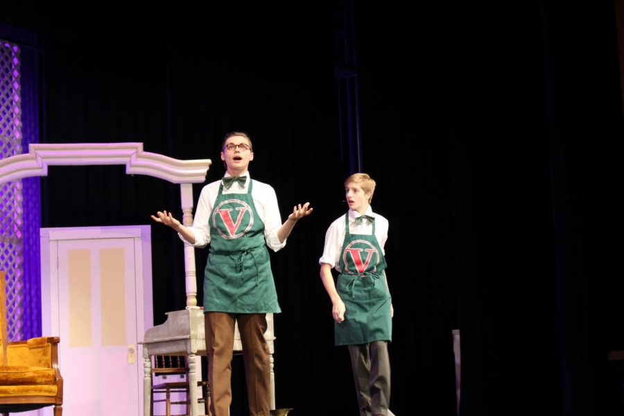 From left to right: Senior Kaleb Fair and Junior Shane Watson show a lot of expression during their rehearsal.